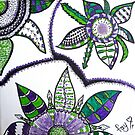 Spiky Green & Purple Flowers by Fay Hartwell