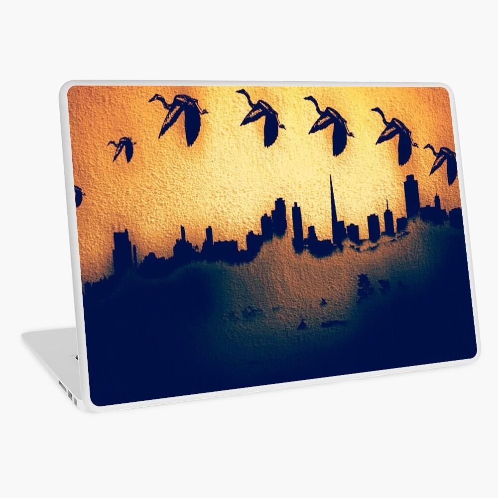 Golden Heron Over San Francisco Skyline Laptop Skin