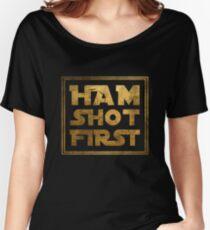 Ham Shot First - Gold Women's Relaxed Fit T-Shirt