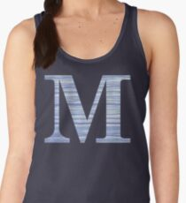 Letter M Blue Watercolor Stripes Monogram Initial Women's Tank Top