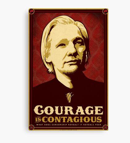 Julian Assange Courage Is Contagious Canvas Print