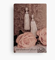 Old fashioned thanks on card. Canvas Print