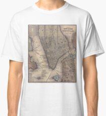 Camiseta clásica Vintage NYC and Brooklyn Map (1847)