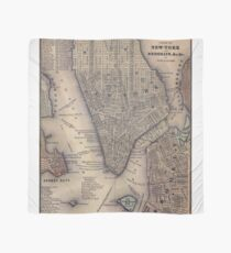 Pañuelo Vintage NYC and Brooklyn Map (1847)