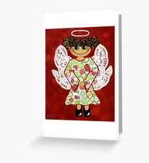 Fruit Salad Angel - she's quirky and cute as a button! Greeting Card