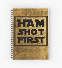 Ham Shot First - Gold Background Spiral Notebook