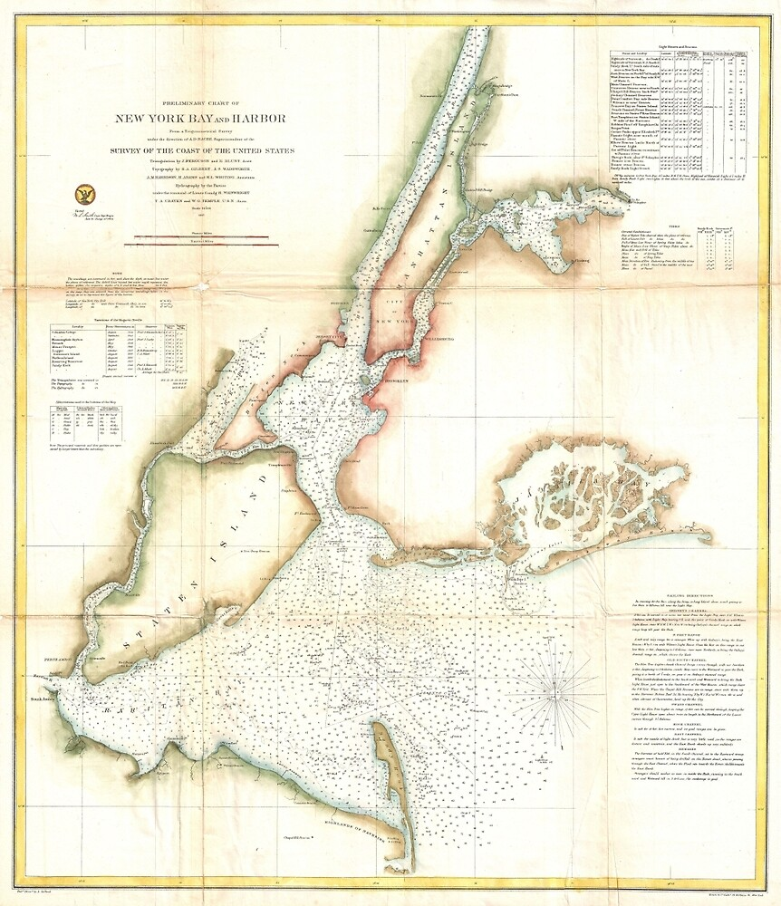 Vintage Map of New York City and NY Harbour (1857) by BravuraMedia