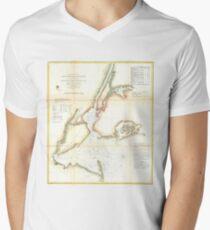 Camiseta para hombre de cuello en v Vintage Map of New York City and NY Harbour (1857)