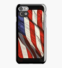Blowing flag of the United States of America iPhone Case/Skin