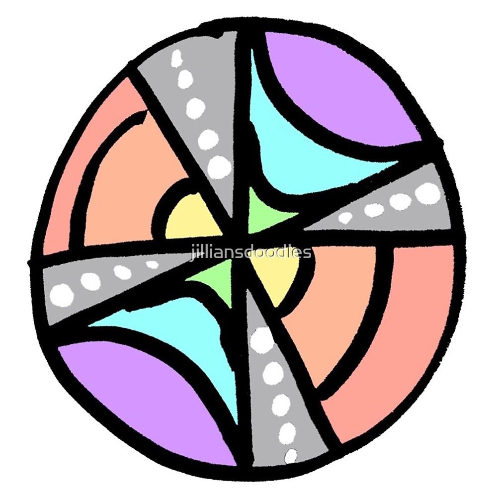 Rainbow Circle Doodle Print by jilliansdoodles
