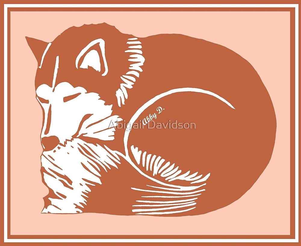 Sleeping Copper Husky with Rosy Peach by Abigail Davidson