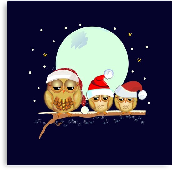 Cute Owls family with Santa hats on abranch by walstraasart