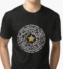 Merry Christmas Different Languages - White design Tri-blend T-Shirt
