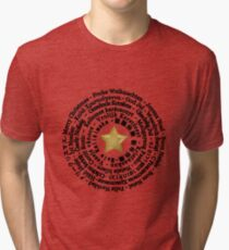 Merry Christmas in Different Languages - Black design Tri-blend T-Shirt