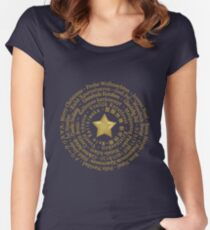 Merry Christmas in Different Languages - Gold design Women's Fitted Scoop T-Shirt