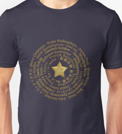 Merry Christmas in Different Languages - Gold design T-Shirt