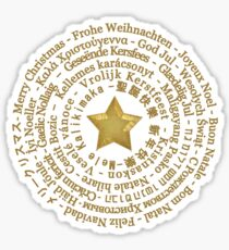 Merry Christmas in Different Languages - Gold design Sticker