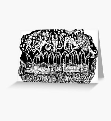 Dreams surreal black and white pen ink drawing Greeting Card