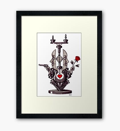 Balance of the Soul surreal black and white pen ink drawing Framed Print