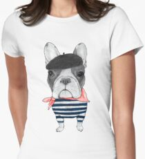 French Bulldog in front of Arc de Triomphe. Women's Fitted T-Shirt