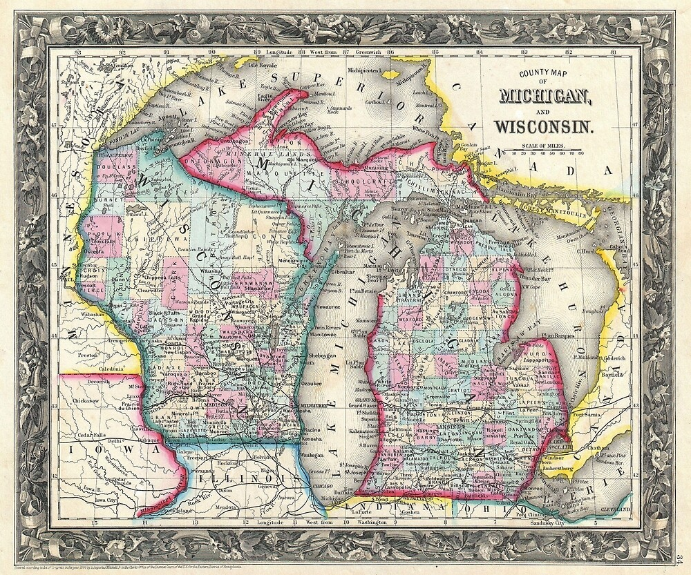 Vintage Map of Michigan and Wisconsin (1860) by BravuraMedia