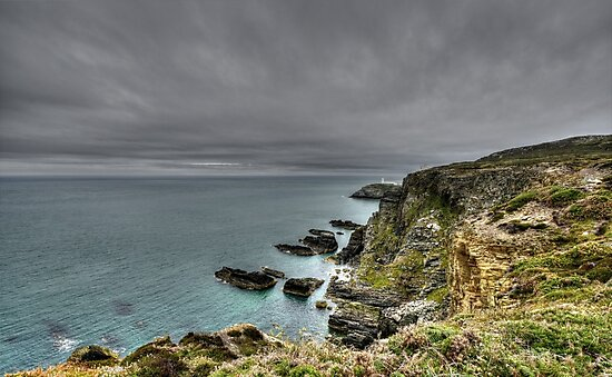 Rain Clouds Approach South Stacks by JohnYoung