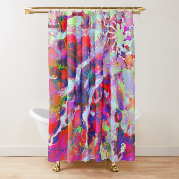 Fractalize Crimson Shower Curtain
