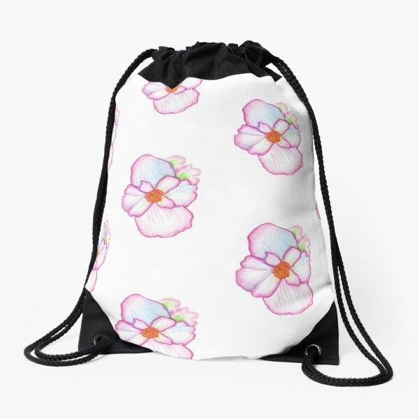 Pink Pansy Drawstring Bag
