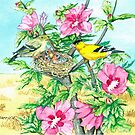 Goldfinch & Rose of Sharon by clotheslineart