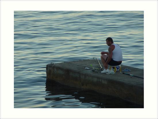 The Lone Fisherman Of Cap Ferrat by Fara