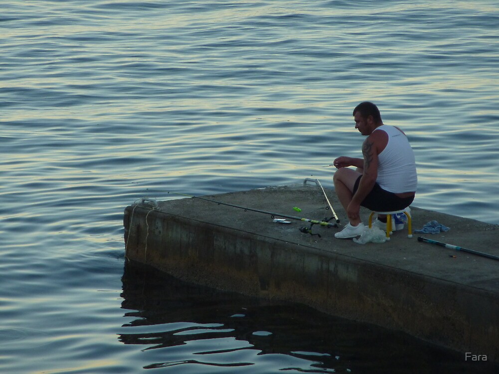 The Lone Fisherman Of Cap Ferrat by Fara
