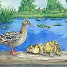 Mallard Duck & Ducklings On A Log by clotheslineart