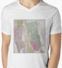 Camiseta de cuello en V Vintage Map of New York City (1863)