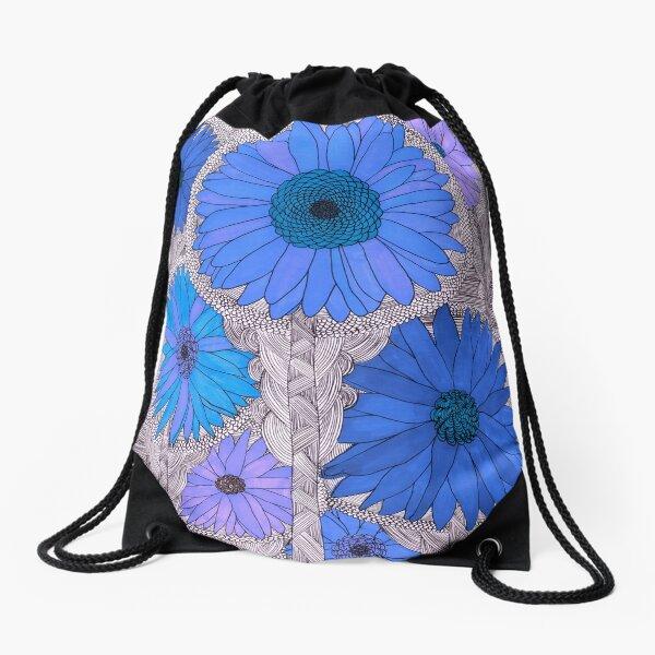 Gerbera Daisy- Blue Drawstring Bag