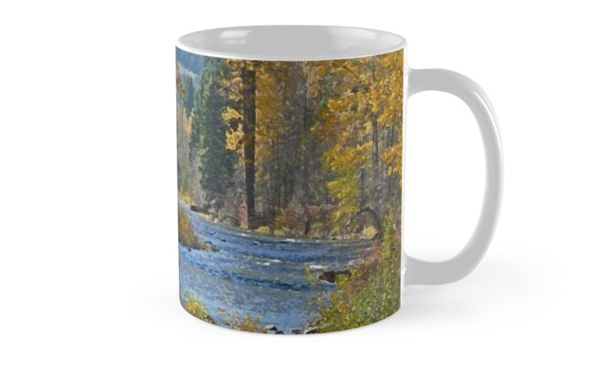 Autumn forest and river scene by perlphoto