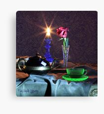 Green Tea Cup with rose (still life) Canvas Print