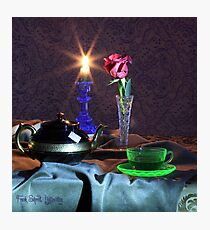 Green Tea Cup with rose (still life) Photographic Print