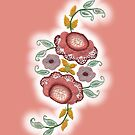 'Irish Rose' embroidery on pink by Duncan Waldron