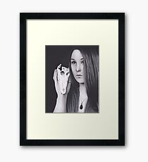 Original Realism Charcoal Drawing of Beautiful Woman with Reptile Skull Framed Print