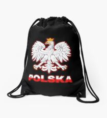 Polska - Polish Coat of Arms - White Eagle Drawstring Bag