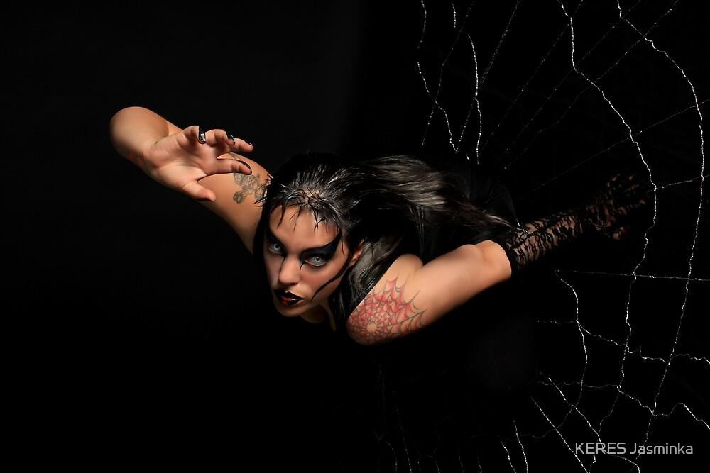 Black Widow springing from his spiderweb by KERES Jasminka