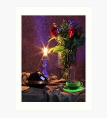 Blue Candle with flowers and green tea cup (still life) Art Print