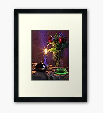 Blue Candle with flowers and green tea cup (still life) Framed Print