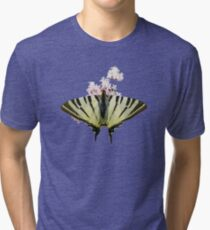 Scarce Swallowtail On Wild Garlic Flowers Vector Isolated Tri-blend T-Shirt