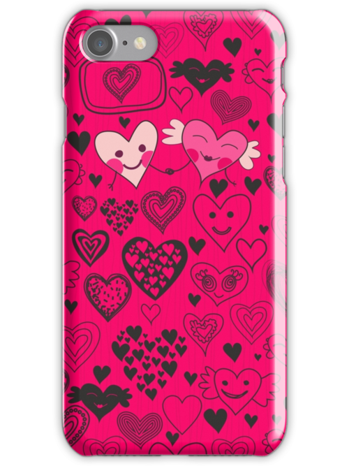 pink doodle hearts iphone case by Anastasiia Kucherenko