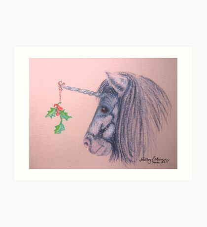 A Shetland Unicorn Does Christmas Art Print