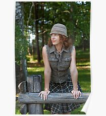 Woman with cap in nature Poster