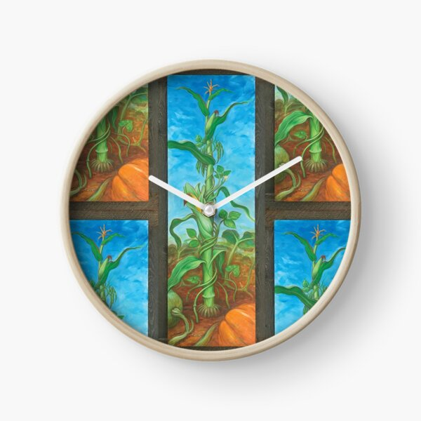 Three Sisters: Corn, Beans & Squash painting Clock