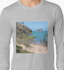 Island in the bay with trees and beach Long Sleeve T-Shirt
