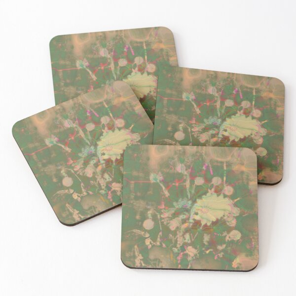 Fractalized floral abstraction Coasters (Set of 4)